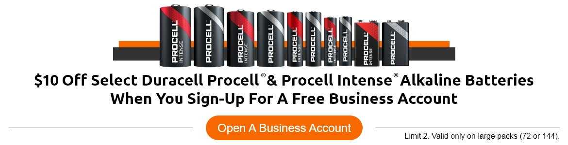 $10 Off Select Duracell Procell & Procell Intense Alkaline Batteries When You Sign-Up For A Free Business Account